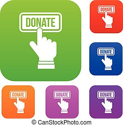 Hand presses button to donate set collection