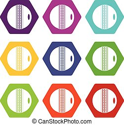Black and white cricket ball icon set color hexahedron -...