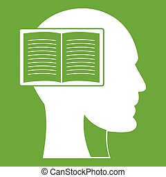 Head with open book icon green
