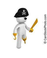 Pirate captain - 3d rendering. Pirate captain 3d concept...