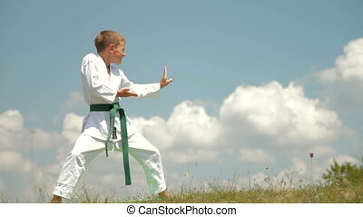 boy practicing karate on the nature