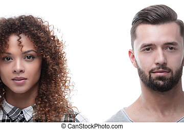 Close-up face of a man and a woman. Photo with copy space