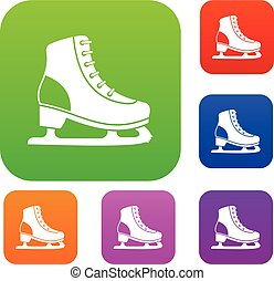 Ice skate set collection - Ice skate set icon in different...