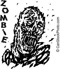 Blown away by the wind dead man zombie. Vector illustration.