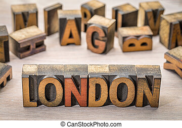 London word abstract in wood type