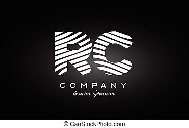 RC R C letter alphabet logo black white icon design - RC R C...