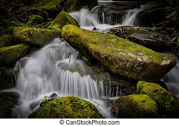 Close Up of Rushing Water Around Mossy Boulders in summer