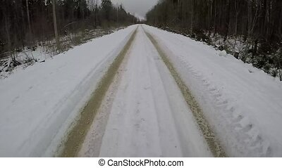 Driving on a winter country road