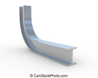 bend structural steel isolated on a white background