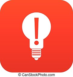 Bulb with exclamation mark inside icon digital red - Light...