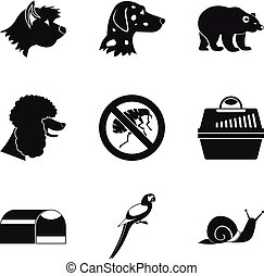 Canis icons set, simple style - Canis icons set. Simple set...