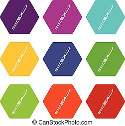 Stainless medical scalpel icon set color hexahedron -...