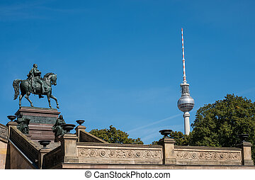 Berlin landmarks: TV Tower and statue of Frederick William...
