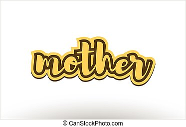 mother yellow black hand written text postcard icon - mother...