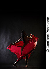 Dance nude - Nude model in studio dancing with red cloth