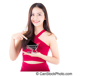 Asian woman in shopping concept isolated on white background girl holding shopping cart with credit card small.