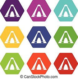 Tepee icon set color hexahedron - Tepee icon set many color...