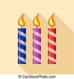 Three candle icon, flat style - Three candle icon. Flat...