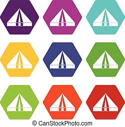 Tourist camping tent icon set color hexahedron