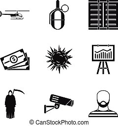 Perpetrator icons set, simple style