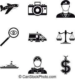 Police officer icons set, simple style
