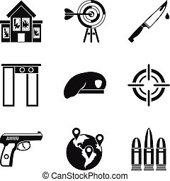 Mobster icons set, simple style - Mobster icons set. Simple...