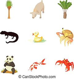 Waterfowl icons set, cartoon style - Waterfowl icons set....