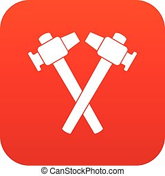 Crossed blacksmith hammer icon digital red for any design...