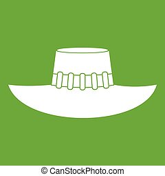 Woman hat icon green - Woman hat icon white isolated on...