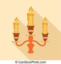 Candelabra candle icon, flat style - Candelabra candle icon....