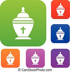 Urn set collection - Urn set icon in different colors...