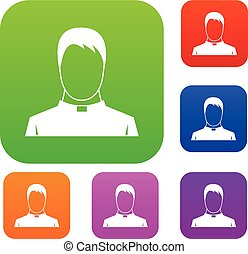 Priest set collection - Priest set icon in different colors...