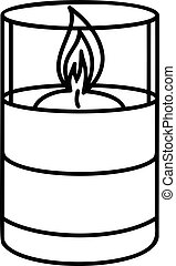 Candle glass icon, outline style - Candle glass icon....