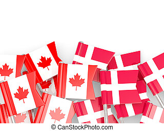 Flag pins of Canada and Denmark isolated on white. 3D...