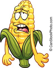 Cartoon corn - Tired cartoon corn. Vector clip art...