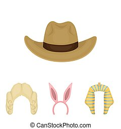 Rabbit ears, judge wig, cowboy. Hats set collection icons in cartoon style vector symbol stock illustration web.