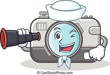 Sailor with binocular camera caharacter cartoon design