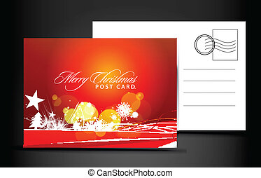 christmas post card, isolated on illustration background,...