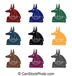 Anubis icon in black style isolated on white background....
