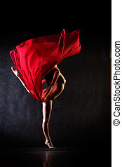Dance nude - Studio dance shot with nude model and red cloth
