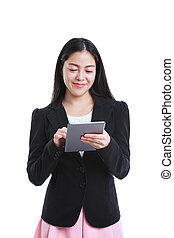 Asian woman holding tablet computer isolated on white...