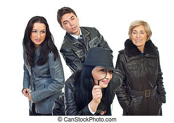 Detectives in action - Group of three detectives in leather...