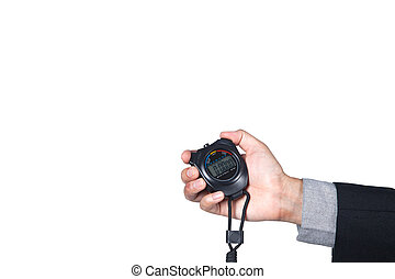 stopwatch on hand of businessman isolated on white background with space for copy.