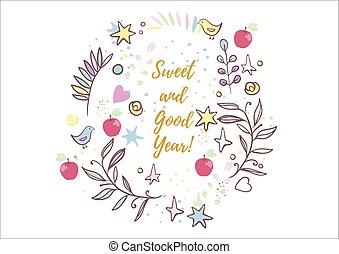 Holiday greetings illustration Rosh Hashanah. Vector...