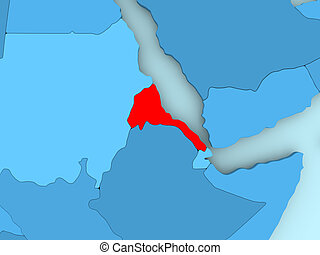 Map of Eritrea - Eritrea in red on blue political map. 3D...