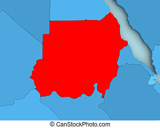 Map of Sudan - Sudan in red on blue political map. 3D...