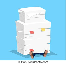 Businessman under the stack of paper,