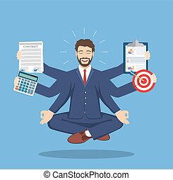 Businessman with multitasking lots of arms doing various...