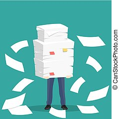 Paper pile with a man. Vector illustration in flat style....