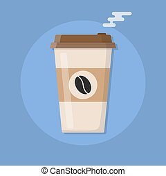 Plastic coffee cup with hot coffee